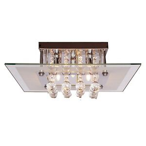 Modern Crystal Ceiling Light  Square Crystal Flush Mount Lighting With 5 Lamps