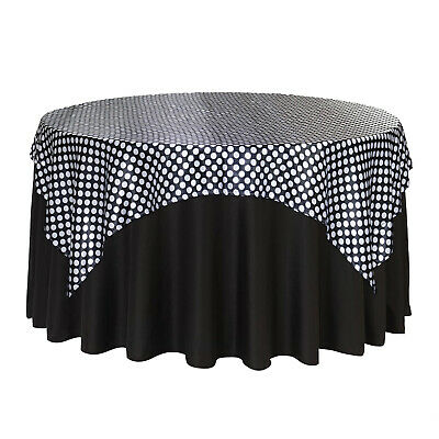 72 inch Square Satin Table Overlay Black/White Polka - Black And White Polka Dot Table Cloth