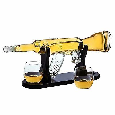 Rifle Gun Whiskey Decanter w/ 2 Glasses Set for Scotch Bourbon Vodka Liquor
