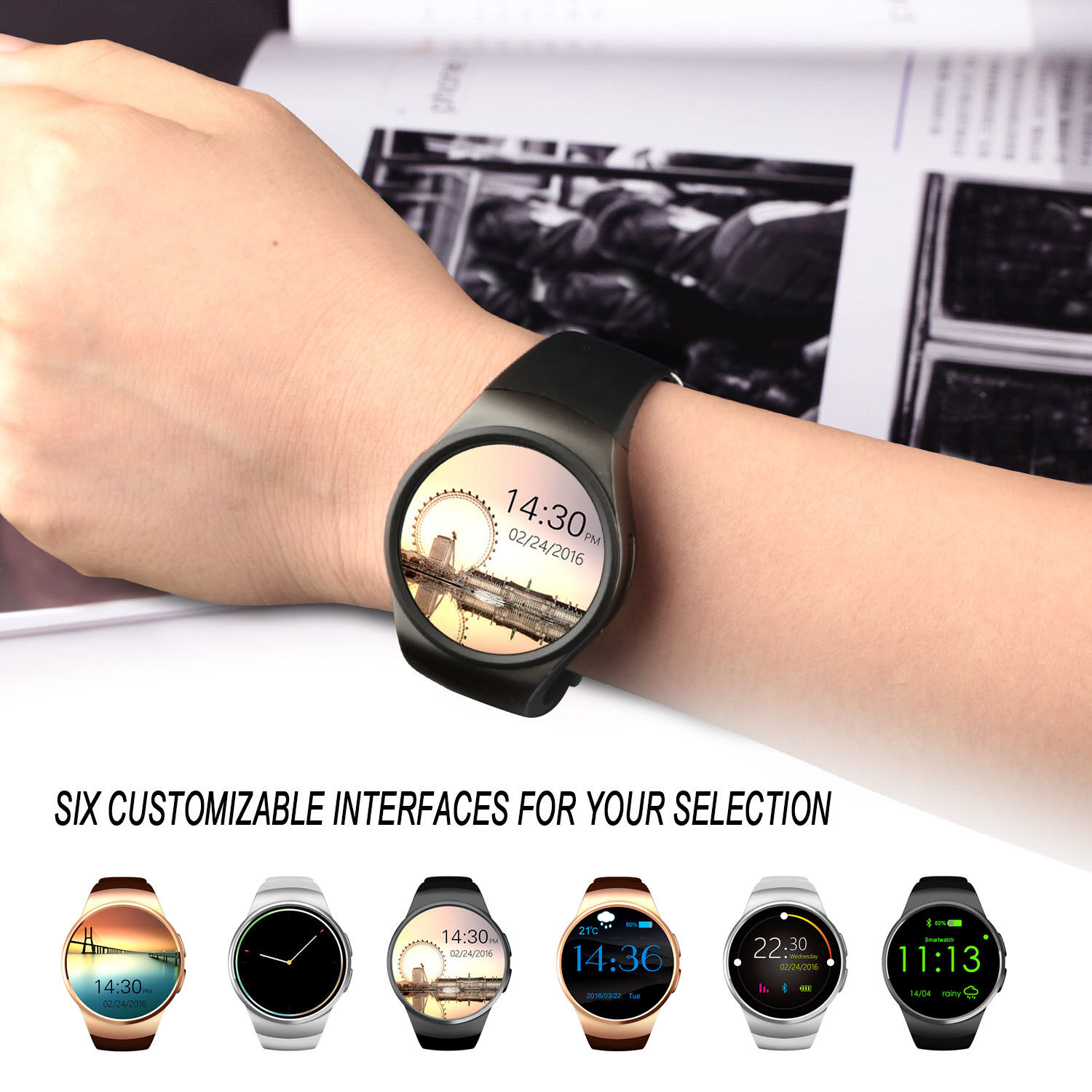 Details about KW18 Smart Watch Phone Mate for Android Samsung iOS iPhone  Xmas Gifts