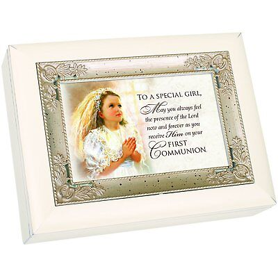 First Communion Girl Veil Glossy Ivory Silver Inlay Music Box Plays Ave Maria