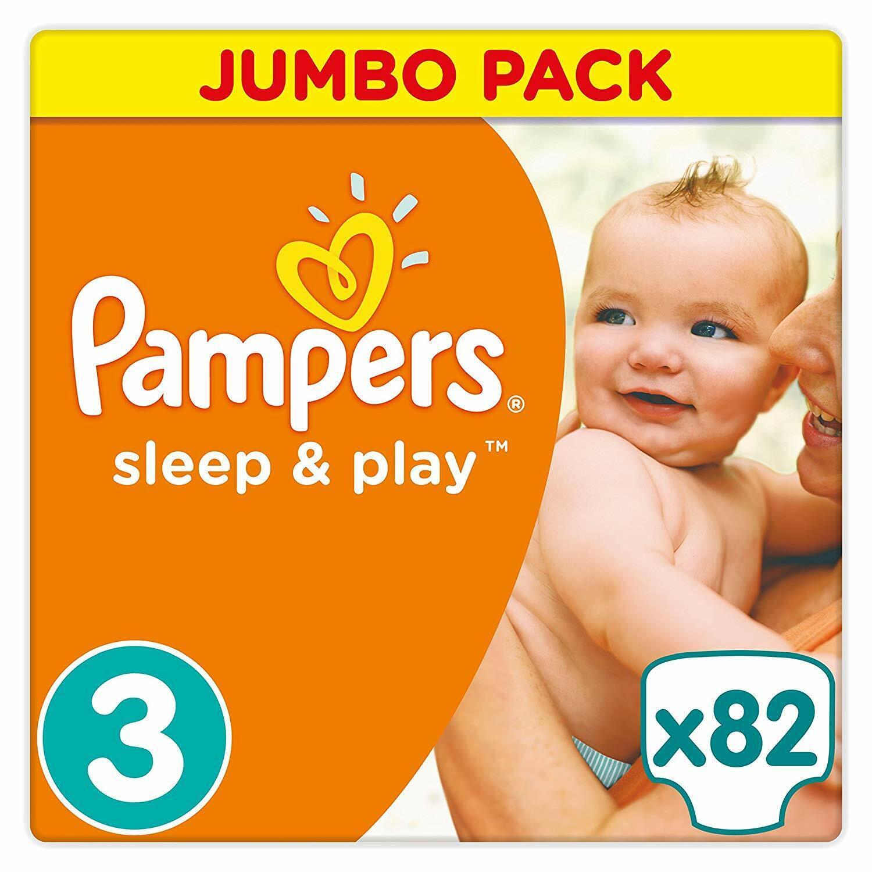 Pampers Sleep & Play Windeln Größe 3 (5-9 kg), Jumbo Einfach trocken  82 stück