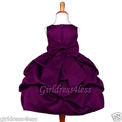 Plum Dark Purple Pick Up Wedding Flower Girl Jr. Bridesmaid Party Princess Dress