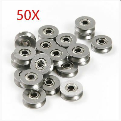 50pcs Deep V Groove Guide Wire Line Pulley Rail Track Ball Bearing 3x12x4mm
