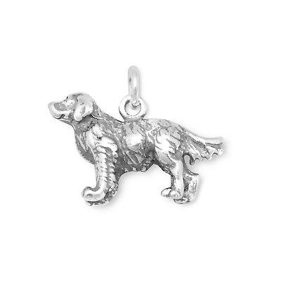 Golden Retriever Dog Charm Sterling Silver Pendant 3d Animal Pet 3d Golden Retriever Charm