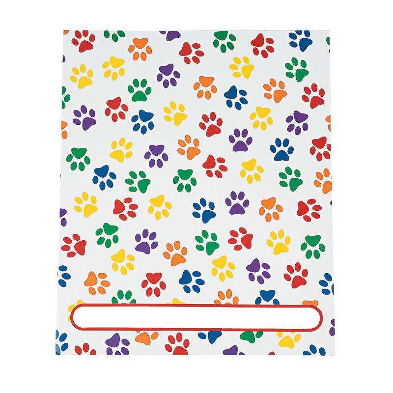 Paw Print Patterned Pocket Folders - Stationery - 12 Pieces