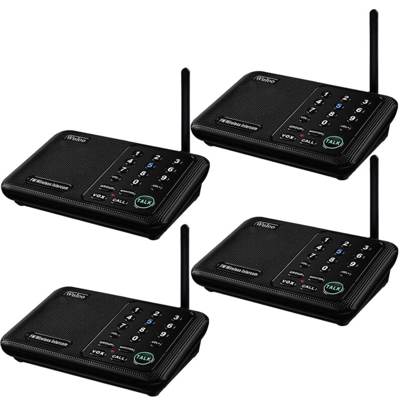 Wuloo Wireless Home Intercom System for House Business Offices 5280Ft Long Range