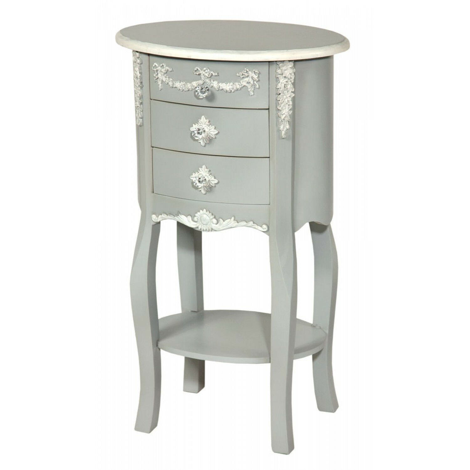 BOUDOIR ANTIQUE GREY WHITE FRENCH OVAL BEDSIDE LAMP SIDE TABLE CABINET (R10-1088