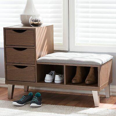 arielle walnut wood 3 drawer shoe storage