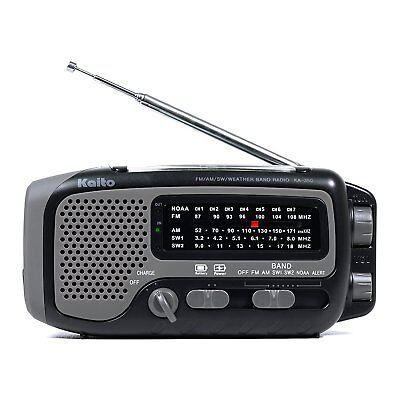 Kaito KA350 Solar Crank AM FM Shortwave Weather Radio Black