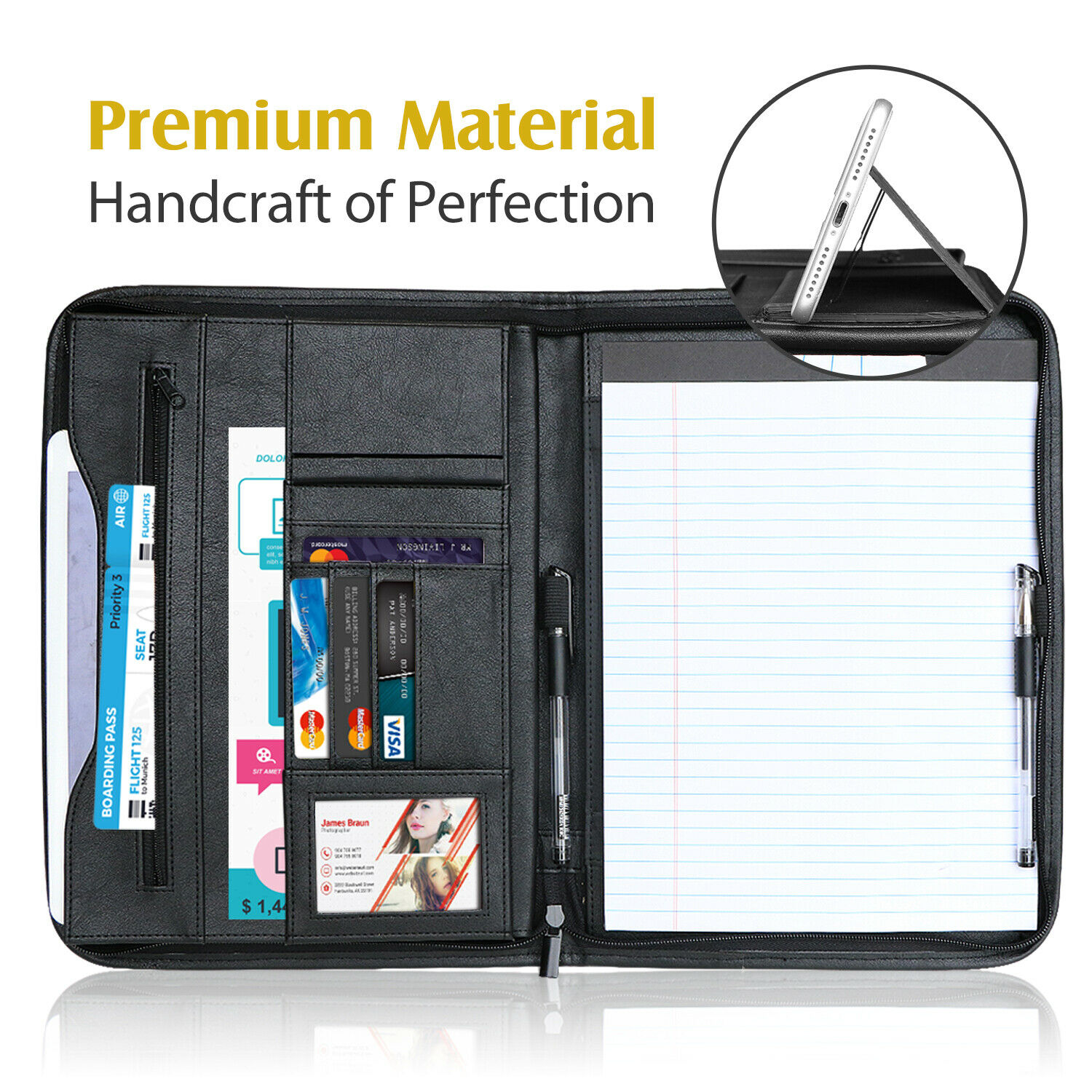 Portfolio Business Briefcase A4 PU Leather Padfolio Binder w