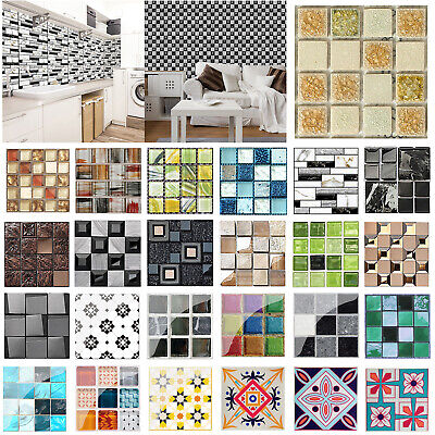 Lot Kitchen Tile Stickers Bathroom Mosaic Sticker Self-adhesive Wall Decor Home