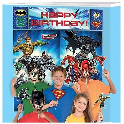 JUSTICE LEAGUE SCENE SETTER Wall Decoration Happy Birthday Party Backdrop PROPS - Justice League Birthday Party