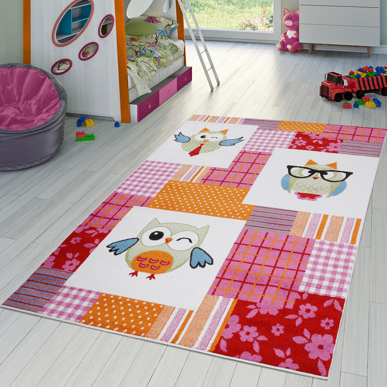 Kinderzimmer Teppich Kariert Bunte Eulen Kurzflor Pink Grün Creme Blau Rot