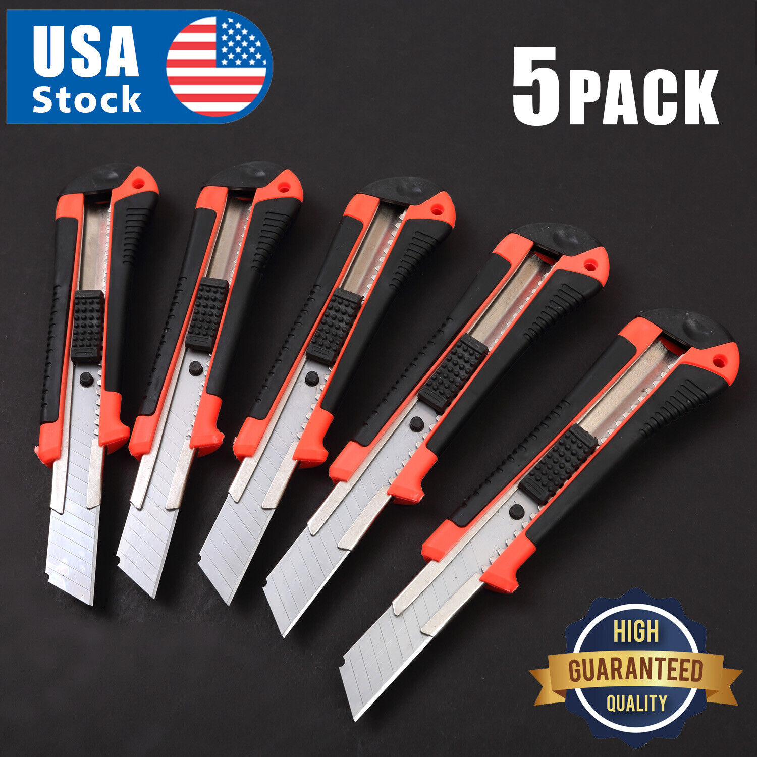 5 PACK 18 mm Knife Box Cutter Retractable Snap Off Lock Blade Tool Razor Sharp Hand Tools