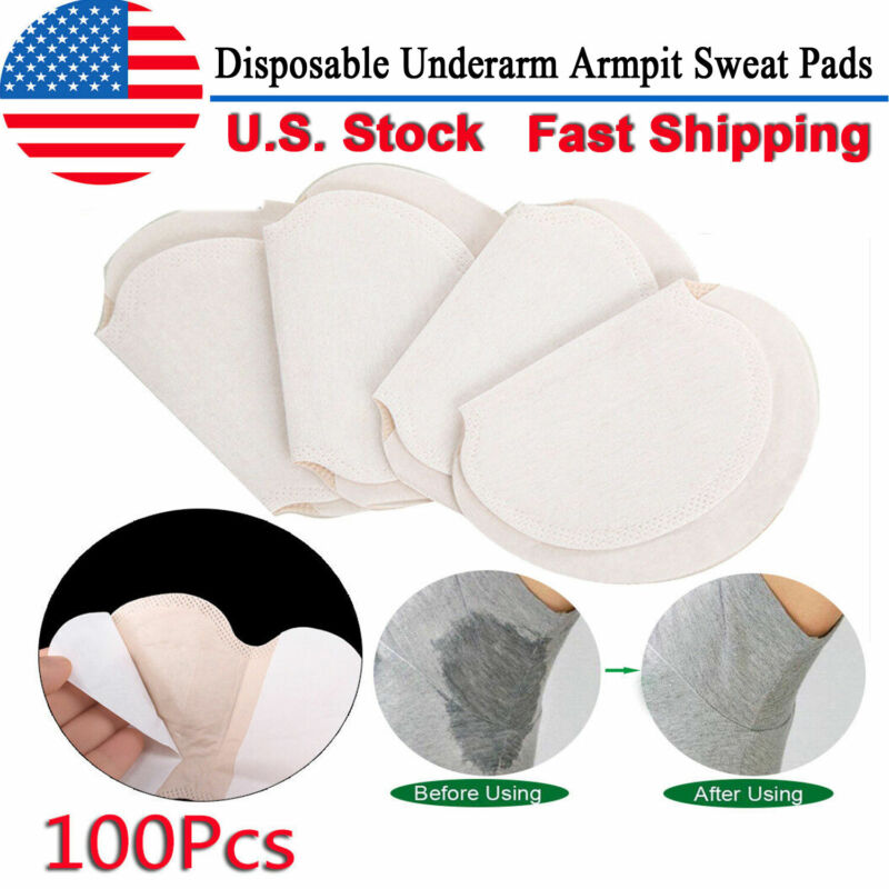 100 pcs Disposable Underarm Armpit Sweat Pads Stickers Shield Guard Absorbing US
