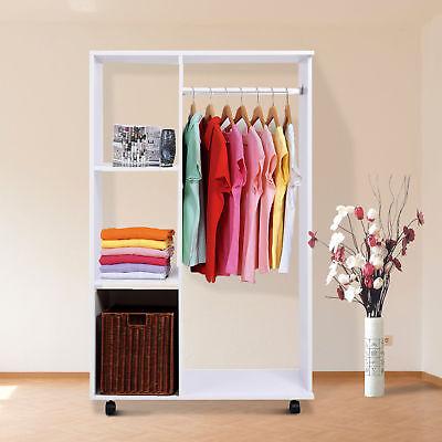 Mobiler Kleiderschrank Garderobenschrank Dielenschrank Schrank Holz offen