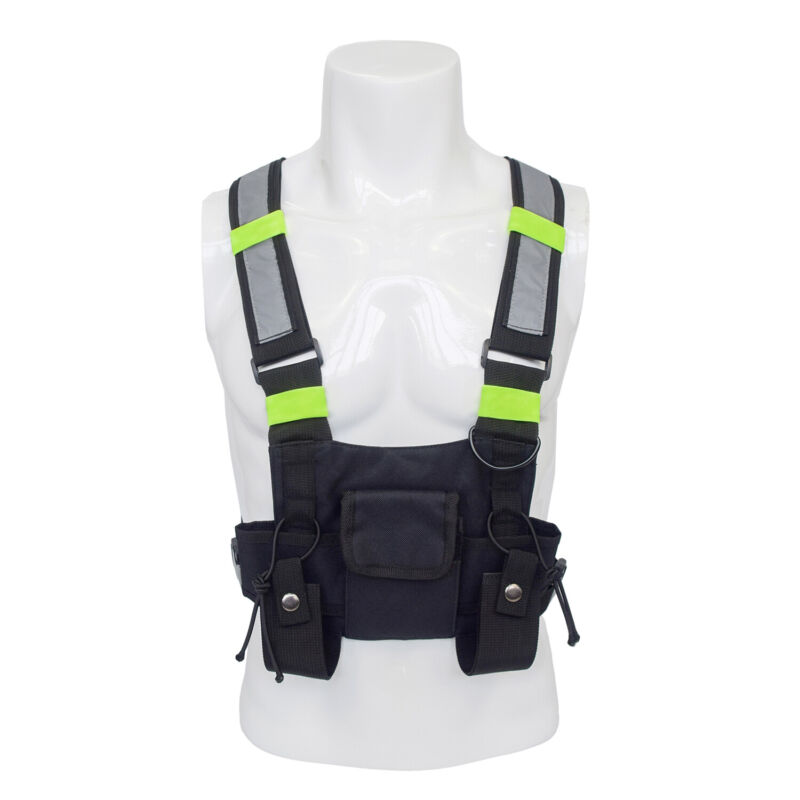 Radio Chest Harness 3 Pocket Pouch Walkie Talkie Holster Holder Vest Carry Bag
