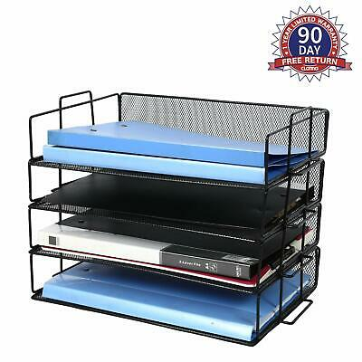 Desk Top File Organizer 4 Tier Mesh Metal Trays Desktop Document Holder Folder