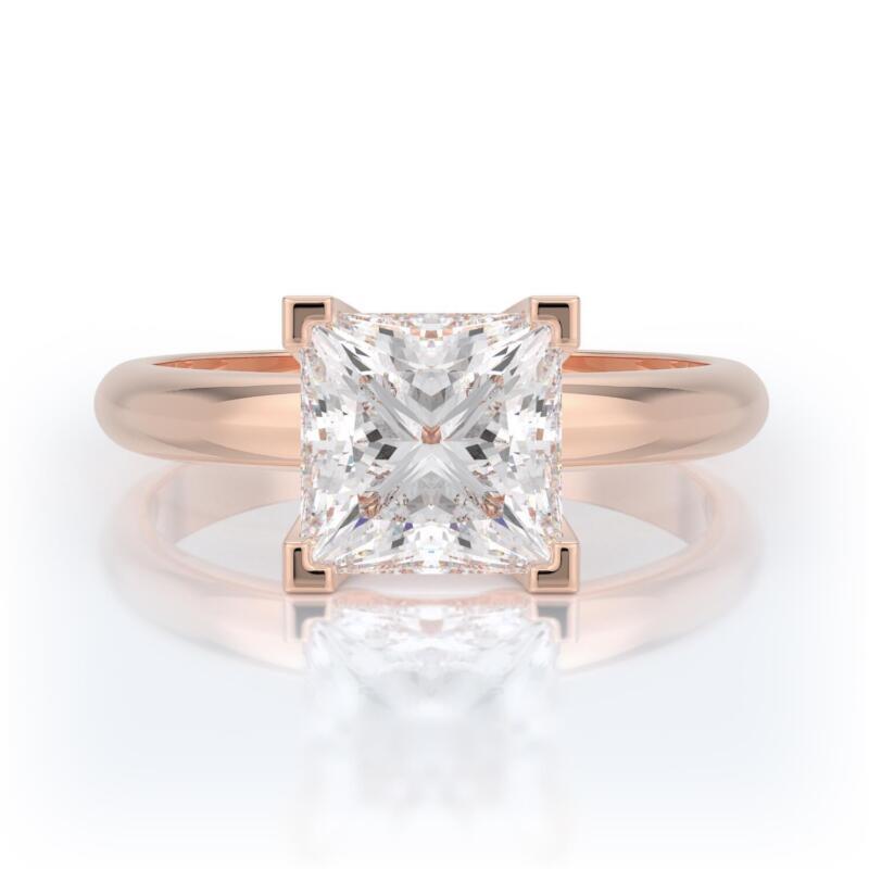 3 Carat D Si2 Princess Cut Diamond Solitaire Engagement Ring 14k Rose Gold
