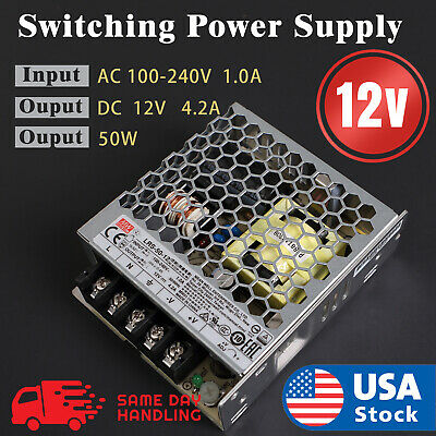 Mean Well Enclosed Switching 12volt 4.2 Amp Acdc Power Supply 12v 4.2a 50w