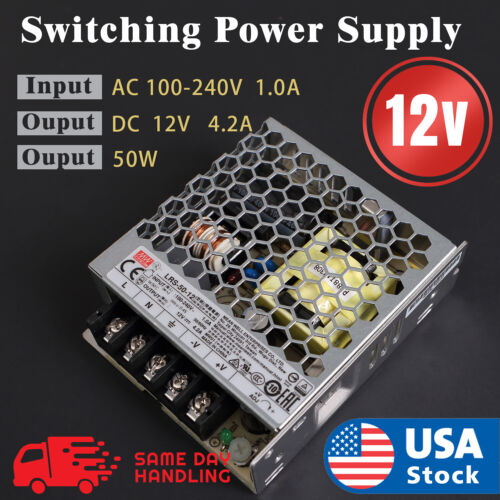 Mean Well Enclosed Switching 12Volt 4.2 Amp AC/DC Power Supply 12V 4.2A 50W