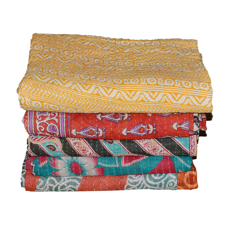 Wholesale Lot Kantha Quilt Handmade Reversible Throw Vintage