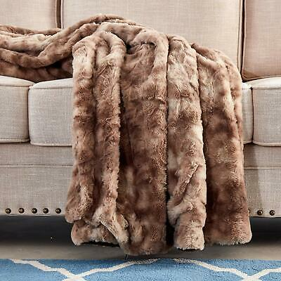 Xmas Gift Multi-Color Faux Fur Bed Throw/Twin Blanket Super Soft Fuzzy Cozy Warm ()