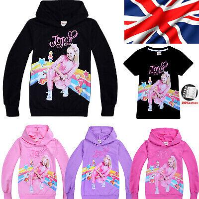 New Jojo Siwa Girls 100% Cotton T shirt Casual Cartoon Hoodie Tops Kids Gift