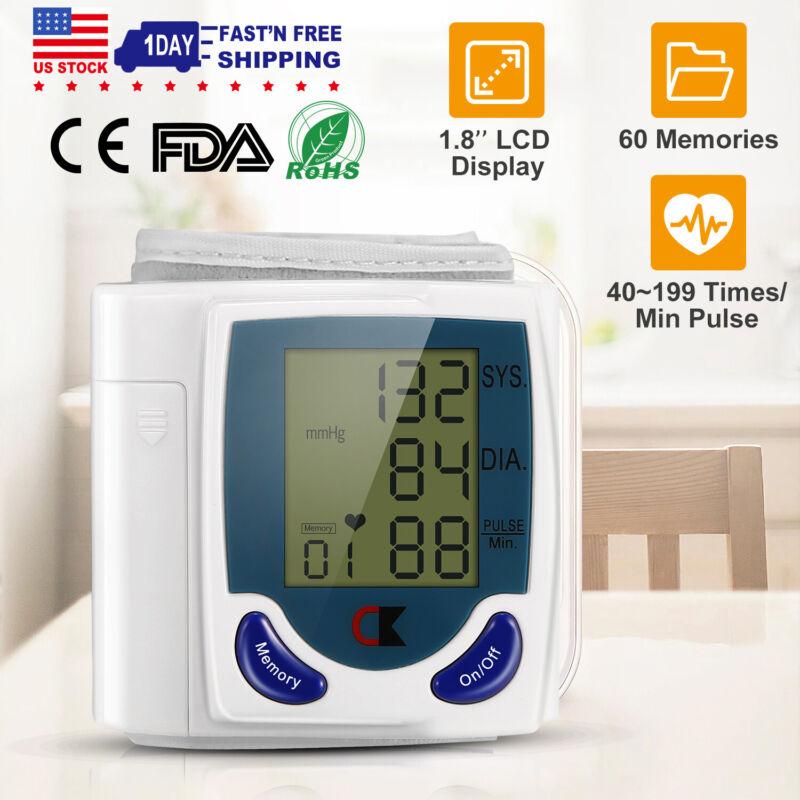 Automatic Digital Wrist Cuff Blood Pressure Monitor Heart Rate Tester Meter LCD