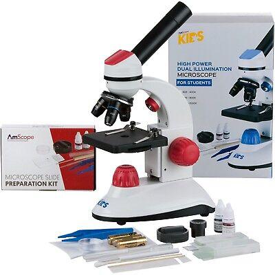 Amscope-kids 40x-1000x Dual Illumination Microscope For Kids Red