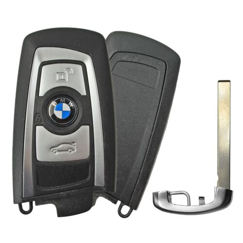 OEM Keyless Entry Remote Transmitter and Blade for BMW YGOHUF5662 Silver Trim