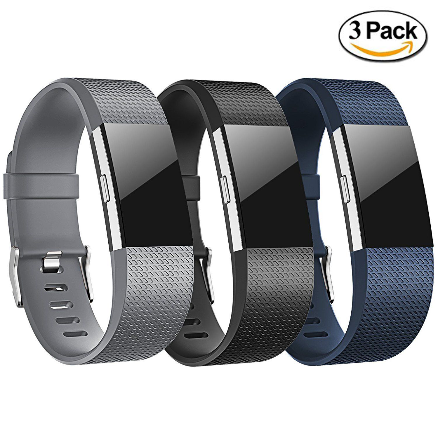 Details about 3 Pack Replacement Wristband For Fitbit Charge 2 Band  Silicone Fitness Large USA