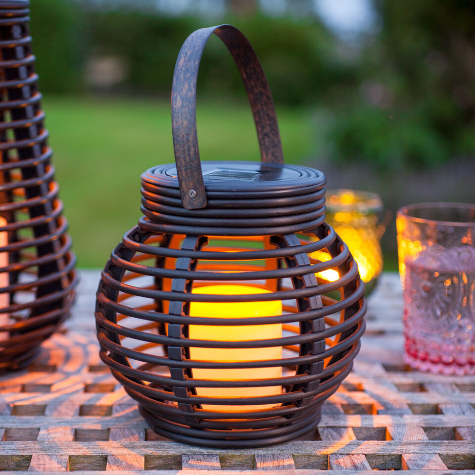Solar Powered Round Rattan Outdoor LED Candle Lantern For Garden & Patio, 15cm