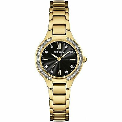 Bulova Women's Diamond 98W222 Black Dial Gold Stainless Steel Bracelet Watch