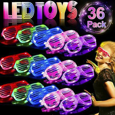 36 Pack LED Light Up Glasses Glow in The Dark Party Favors Shutter Shades (Cheap Shutter Shade Sunglasses)