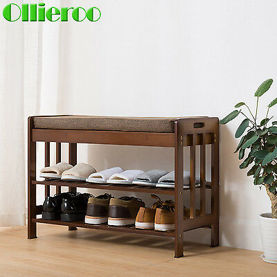 Ollieroo 2Tier Bamboo Shoe Bench W/Cushion Shelf Rack Organizer Entryway Hallway