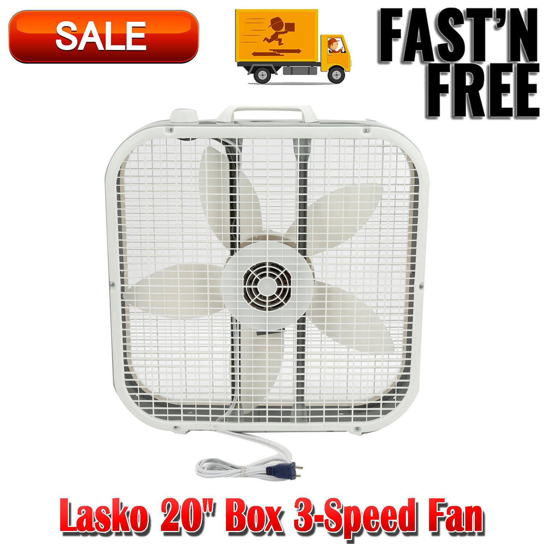 """Lasko 20"""" Box 3-Speed Fan, Model B20200, White Portable Fans"""