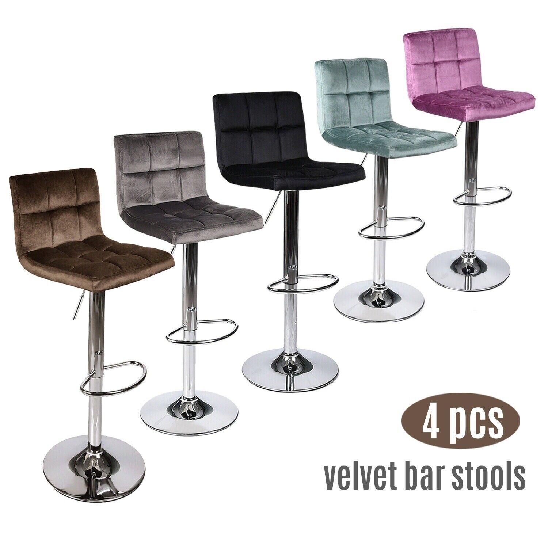 Set of 4 Bar Stools Velvet Adjustable Swivel Kitchen Pub Din