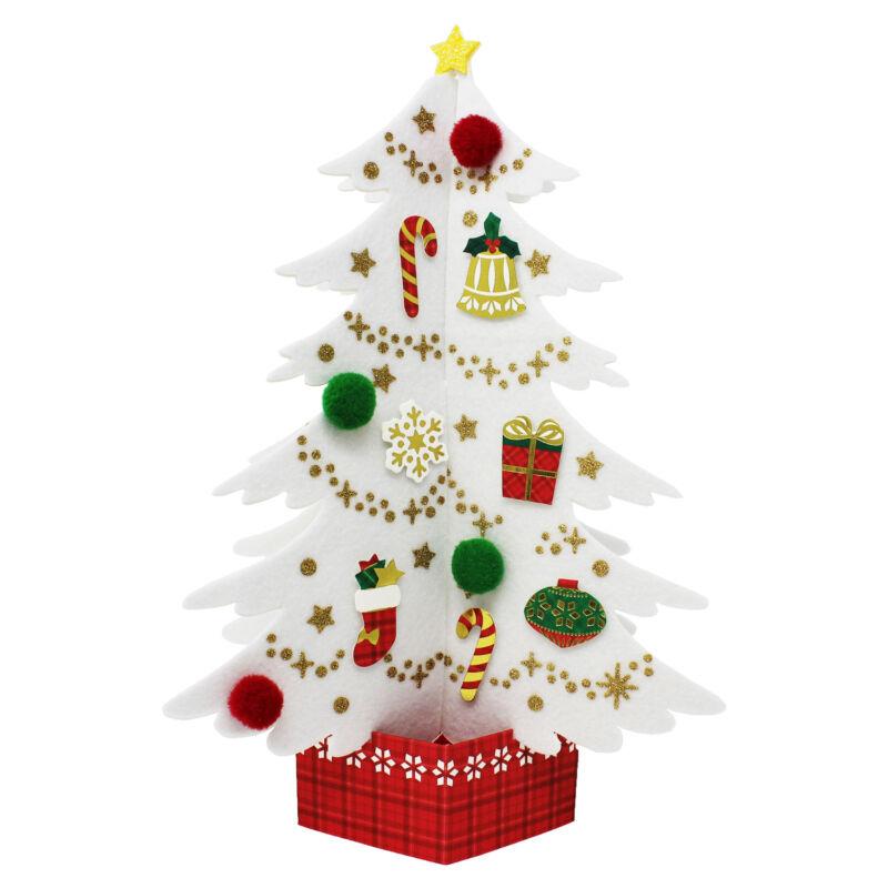 Miniature Felt White Christmas Tree Pop Up Card