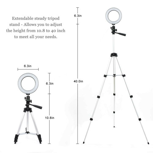 "6"" LED Ring Light with Stand Dimmable LED Lighting Kit For M"