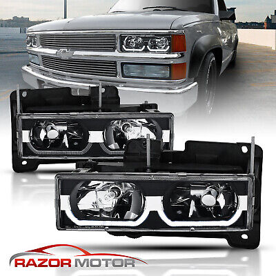 1988-1998 Chevy C/K 1500/2500/3500/GMC Factory Style Black Headlights