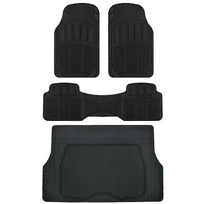 CarXS Proliners Classic Rubber Floor Mats Black-4pc Heavy Duty Diamond Grid