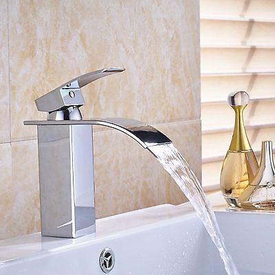Waterfall Chrome Brass Bathroom Basin Faucet Single Handle/ Hole Sink Mixer Tap