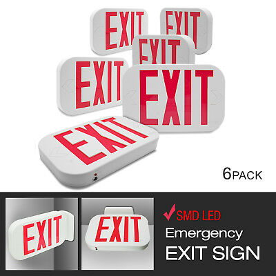 New 6 Pack Exit Emergency Led Sign Red Letter Light Low Voltage White