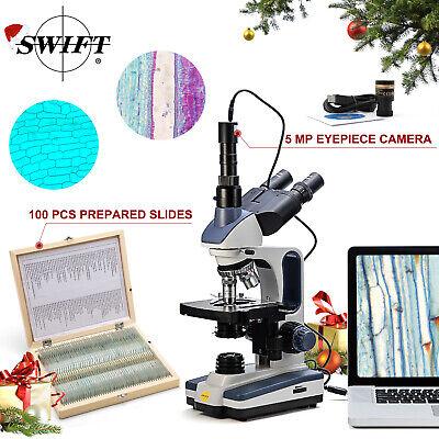 Swift 2500x Trinocular Compound Microscope 5mp Usb Camera100x Prepared Slides