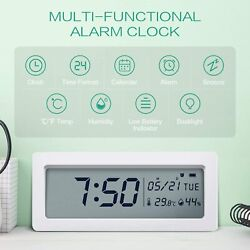 LED Digital Alarm Clock with Thermo Hygrometer, Backlight with Snooze Battery op