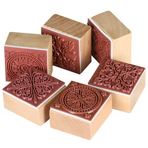 Pack of 6 Letter Square Wooden Rubber Pattern Stamps  - By TRIXES
