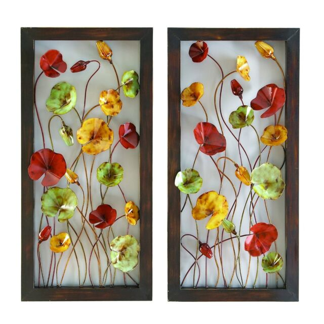 Metal Wall Plaque Flower Set Of 2 Art Decor Accent Home Kitchen Outdoor  Patio