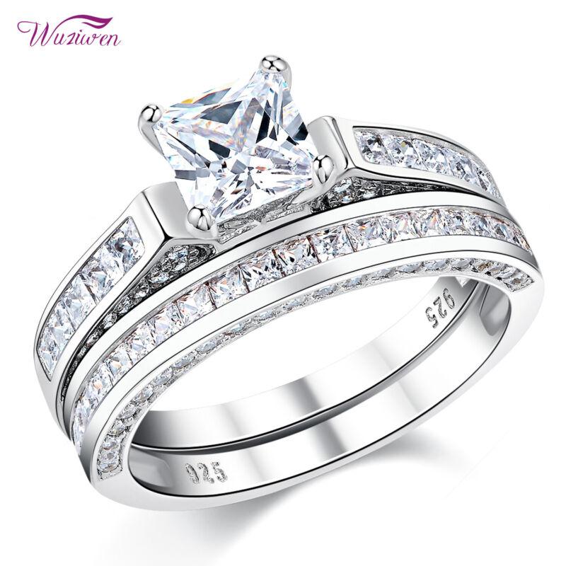Wuziwen Wedding Rings For Women Aaaa Cz 925 Sterling Silver Engagement Ring Set